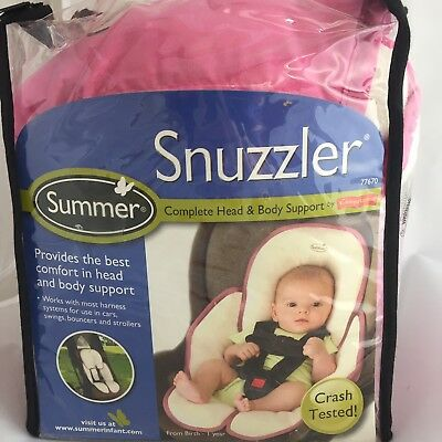 Snuzzler Infant Cushion Head with Body Support Car Seats Strollers Velboa Pink