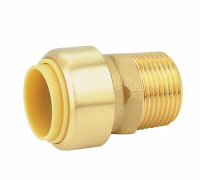 "Brass 1"" Push Fit Sharkbite Style Male Adapter, DZR, Lead Free, New"