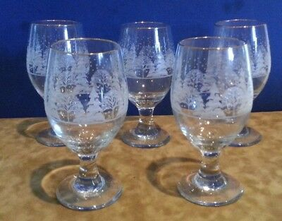 """5 Arby's White Frosted Christmas Tree Winter Water Glass Goblets - 6.5"""""""
