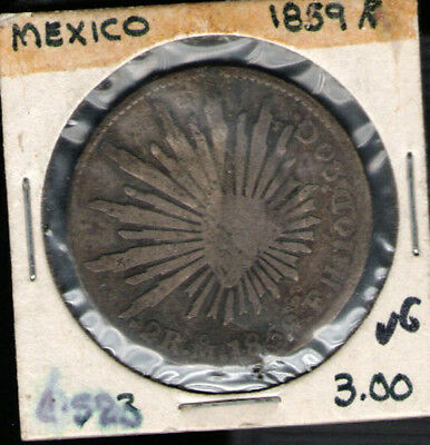 Mexico 1859 Silver 4 Reales Cap and Ray