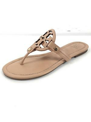 bf8bec0ce5a9 TORY BURCH MILLER Metallic Silver Gold Smooth Leather Thongs Sandals ...