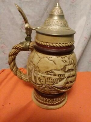 Vintage Avon Beer Stein Ship and Sail Boats