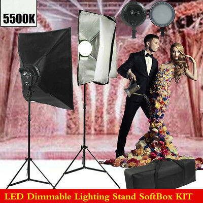 Photography Softbox Studio LED Dimmable Light Lighting Soft Box Stand Kit+CASE