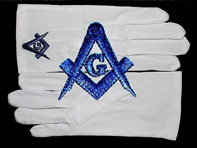 Masonic White Gloves Blue Embroidered G Logo Square & Compass