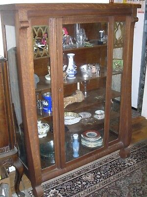 Antique Hale Vermont Tiger Oak Dining Room Set China Cabinet Server Table 6 Chai
