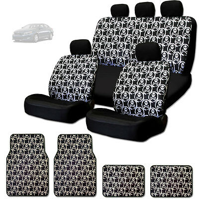 New Cool Skull Design Front And Rear Car Seat Covers Floor Mats Set For Kia
