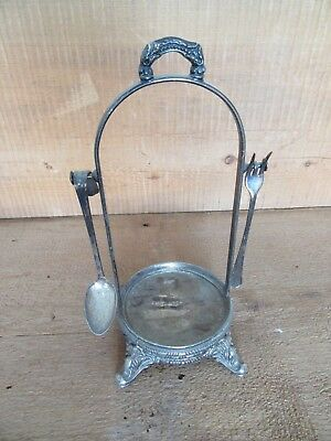 Victorian Fancy Pickle Caster Frame With Spoon and Fork HEAVY