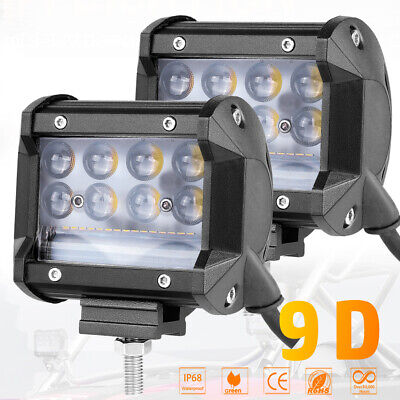 4in 380W LED Work Light Bar Side Shooter Pod Driving Fog OffRoad Tractor 4WD 12V