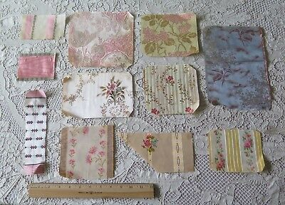 11 Antique French Woven Floral Silk Ribbon Samples c1860~Dolls,Design,Crafts
