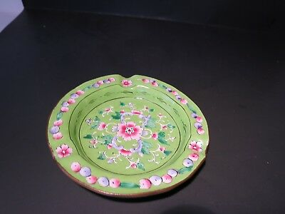 Beautiful VINTAGE Chinese Canton Famille Rose Enameled BRASS Ashtrays BRT GREEN