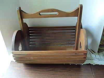 Antique Vintage Primitive Wooden Basket With Cut Out Hearts On Sides Heavy Large