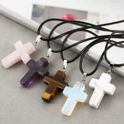 Cross Natural Stone Quartz Charms Pendant Necklace Women Men Jewelry Choker NEW