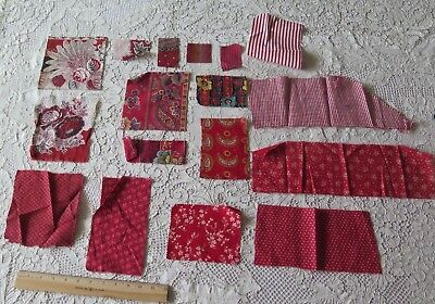 Collection Of 16 French Antique Turkey Red Bandana Cotton Fabrics