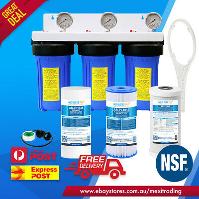 """2 STAGE Whole House Water Filter System 10"""" x 4.5"""" Big Blue  Sediment Carbon"""