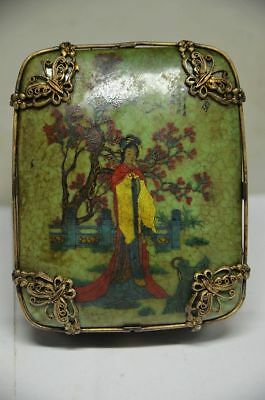 Delicate China Silver Inlaid Porcelain Handmade Butterfly&dragon Jewelry Box