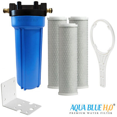 """3X CTO Carbon Filter with 10""""x2.5"""" Single Caravan Water Filter System Whole Kit"""
