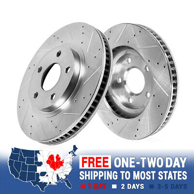 Front Drilled & Slotted Brake Rotors For 2010 2011 2012 BMW X5 xDrive35d