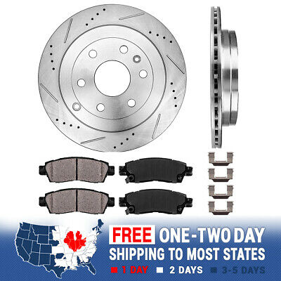 FRONT Drill And Slot BRAKE ROTORS /& CERAMIC Pads For Enclave Acadia Outlook