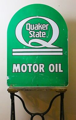 Quaker State Tombstone Sidewalk Double Two 2 Sided Sign Garage Dealer Oil Sign