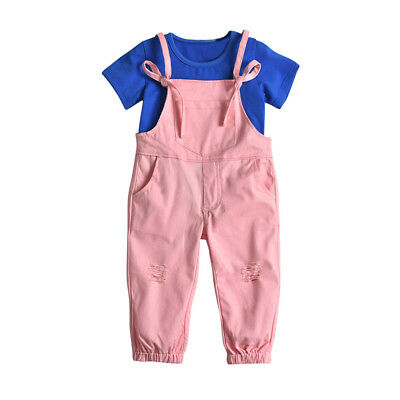 Toddler Baby Girls T Shirt Tops Solid Pocket Overall Pant Clothes Set Outfit New