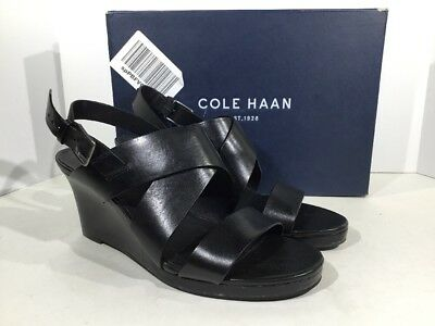 9144cf01db Cole Haan Penelope Wedge Women Size 9B Black Leather Strappy Sandals X8-1280