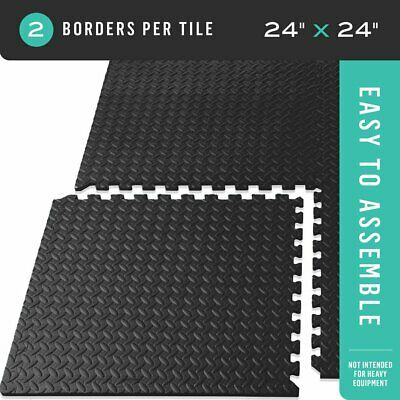 New 24 Sq ft Interlocking EVA Foam Floor Mat Puzzle Tiles Gym Exercise Gray USA