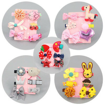 6Pcs Kids Infant Baby Girl Hair Clip Bow Flower Cartoon Hairclip Hairpin Set