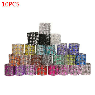 10PCS Rhinestone Napkin Ring Serviette Holder Wedding Party Chair Sash Decor