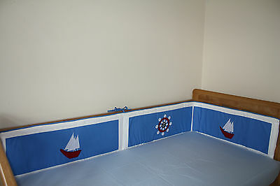NEW blue baby boy's cotbed/cot BUMPER (nursery bedding) nautical theme boats