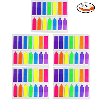 COCESA 1400pcs 10 Sets Neon Page Marker Memo Flags Tabs Fluorescent Sticky Notes