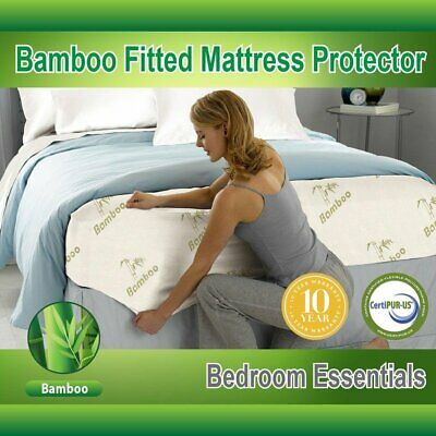New Mattress Protector Waterproof Bamboo Soft Hypoallergenic Fitted Pad Cover