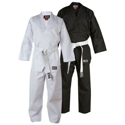 Blitz Kids Polycotton V-Neck Karate Suit Uniform - Black/White Gi only £11.99