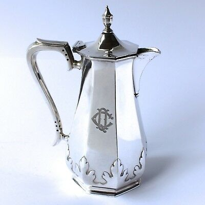 """Antique Mappin & Webb Coffee Hot Water Pot Silver Plate Monogrammed CQ. H8"""" 1Pt"""