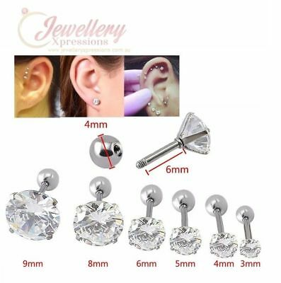 G-1.0mm | Unisex Stainless Steel CZ Tragus Helix Conch Ear Stud (one)