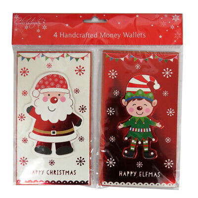 Christmas Handcrafted Money Wallets, Postbox & Bus or Elf & Santa - Pack of 4