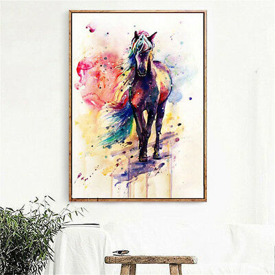 Watercolour Horse Canvas Picture Print Poster Wall Modern Art Home Decor Unframe