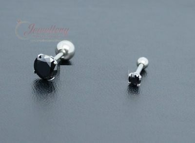 G-1.0mm|Unisex Stainless Steel Barbell Tragus Conch Helix w/ Black CZ (one)