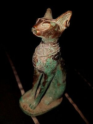 Egyptian Leaking of copper Cat Bastet Figurine Ancient Art & Antiquities