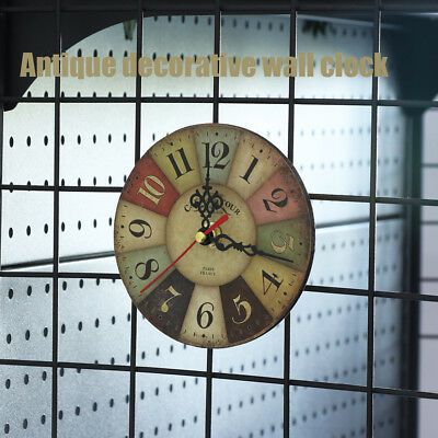 Vintage Rustic Wooden Wall Clock Home Antique Shabby Chic Retro Kitchen Decor HQ