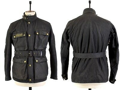 Men's BELSTAFF INTERNATIONAL TRIALMASTER WAXED COTTON Motorcycle Belted Jacket M