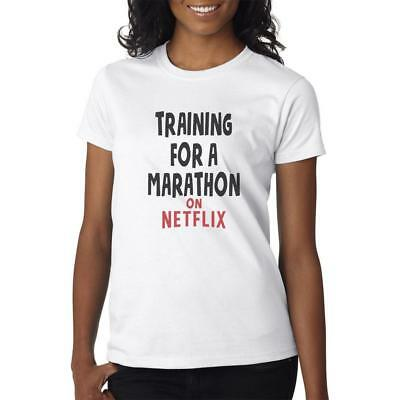 Training For A Marathon On Netflix  - T-Shirt Mens/Womens Tee - Funny Gift