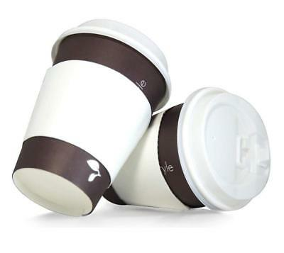 100 Pack 12Oz Disposable Paper Coffee Cups With Lid And Sleeves For Hot Beverage