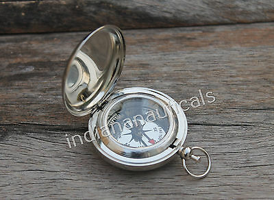 "Brass Push Button Nautical Directional Compass 2"" Nickel Finish Pocket Compass."