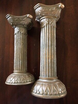 Vintage Set Of 2 Home Interiors Homco Decorative Pillar Candle Holders