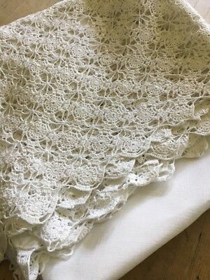 """Large White Vintage Antique Hand Made Crochet  Table Cloth 36"""" Wedding"""