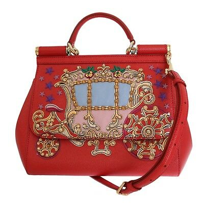 NEW DOLCE   GABBANA Bag Purse SICILY Red Leather Carretto Crystal Hand  Shoulder 28a981278c48d