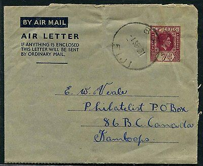 Fiji KGVI 7d aerogramme air letter used 1951 BA to Canada