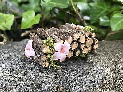 """Fairy Garden Dollhouse Miniature Camp Woodpile For Fire W/ Flowers 1"""" scale 1:12"""