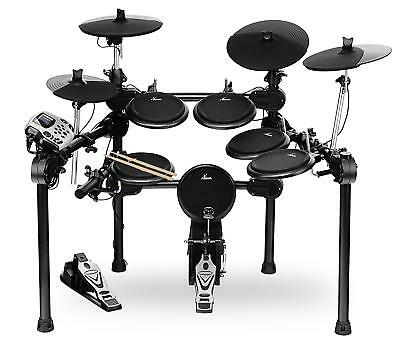 Electronic Drum Kit 5 Dual Zone Pads 4 Cymbals Pedal Sticks Rack Sound Module