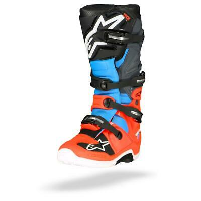 Alpinestars Tech 7 Motorcycle Boots Red Fluo Cyan Gray Black - Free Shipping!